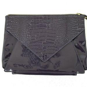 Plum patent leather envelope clutch